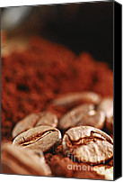 Backdrop Canvas Prints - Coffee beans and ground coffee Canvas Print by Elena Elisseeva