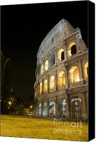 Rome Canvas Prints - Coliseum illuminated at night. Rome Canvas Print by Bernard Jaubert