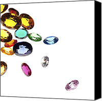 Isolated Jewelry Canvas Prints - Colorful Gems Canvas Print by Setsiri Silapasuwanchai