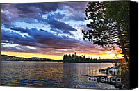 Canada Canvas Prints - Dramatic sunset at lake Canvas Print by Elena Elisseeva