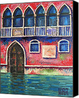 Impressionist Mixed Media Canvas Prints - FACADE on GRAND CANAL Canvas Print by Dan Haraga