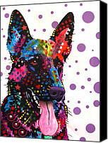 Abstract Art Canvas Prints - German Shepherd Canvas Print by Dean Russo