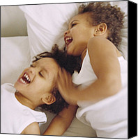 Giggling Canvas Prints - Identical Twin Boys Canvas Print by Ian Boddy
