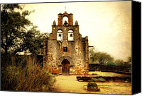 Catholic Church Canvas Prints - Mission Espada Canvas Print by Iris Greenwell