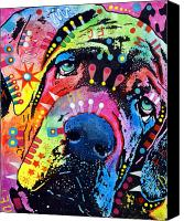 Portrait Mixed Media Canvas Prints - Neo Mastiff Canvas Print by Dean Russo