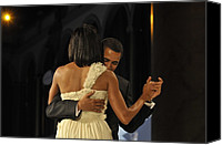 Bswh052011 Canvas Prints - President And Michelle Obama Dance Canvas Print by Everett