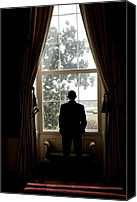 Obama Photo Canvas Prints - President Barack Obama Looks Canvas Print by Everett