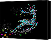Invitation Canvas Prints - Reindeer design by snowflakes Canvas Print by Setsiri Silapasuwanchai