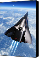 Future Tech Canvas Prints - Saenger Horus Spaceplane, Artwork Canvas Print by Detlev Van Ravenswaay