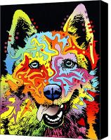 Dean Russo Mixed Media Canvas Prints - Siberian Husky Canvas Print by Dean Russo