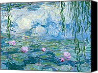 Lillies Canvas Prints - Waterlilies Canvas Print by Claude Monet
