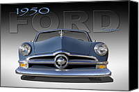 Ford Hot Rod Canvas Prints - 50 Ford Custom Convertible Canvas Print by Mike McGlothlen