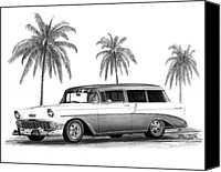 California Hot Rod Canvas Prints - 56 Chevy Wagon Canvas Print by Peter Piatt