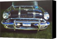 American Car Pastels Canvas Prints - 56 Pontiac Canvas Print by Sharon Quarles