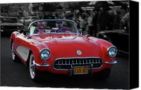 Vet Canvas Prints - 57 Fuel Injected Vette Canvas Print by Bill Dutting