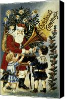Santa Claus Canvas Prints - American Christmas Card Canvas Print by Granger