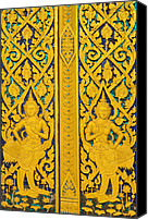 Asia Reliefs Canvas Prints - Antique Thai temple mural patterns Canvas Print by Kanoksak Detboon