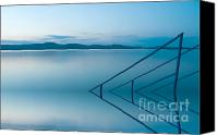 Screen Doors Canvas Prints - Blue lake Canvas Print by Odon Czintos