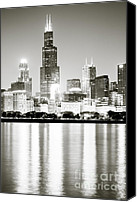 Lake Michigan Canvas Prints - Chicago Skyline at Night Canvas Print by Paul Velgos