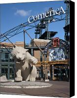 Detroit Tigers Art Canvas Prints - Comerica Park Canvas Print by Cindy Lindow