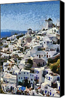 Thira Canvas Prints - Oia town Canvas Print by George Atsametakis