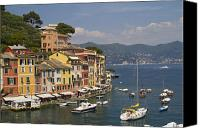 Village Canvas Prints - Portofino in the Italian Riviera in Liguria Italy Canvas Print by David Smith