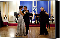 Michelle Obama Photo Canvas Prints - President And Michelle Obama Dance Canvas Print by Everett