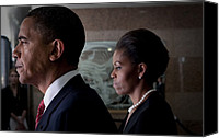 Obama Photo Canvas Prints - President And Michelle Obama Canvas Print by Everett