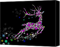 Flowers Digital Art Canvas Prints - Reindeer design by snowflakes Canvas Print by Setsiri Silapasuwanchai