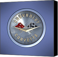Badge Canvas Prints - 60 Chevy Corvette Emblem  Canvas Print by Mike McGlothlen