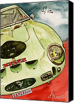 Gto Painting Canvas Prints - 62 Ferrari 250 GTO signed by Sir Stirling Moss Canvas Print by Anna Ruzsan