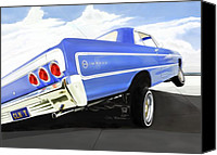 Contemporary Digital Art Special Promotions - 64 Impala Lowrider Canvas Print by Colin Tresadern
