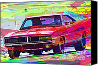 Collectable Painting Canvas Prints - 69 Dodge Charger  Canvas Print by David Lloyd Glover