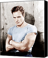 T-shirt Photo Canvas Prints - A Streetcar Named Desire, Marlon Canvas Print by Everett