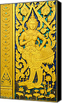 Old Reliefs Canvas Prints - Antique Thai temple mural patterns Canvas Print by Kanoksak Detboon