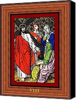 Women Glass Art Canvas Prints - Drumul Crucii - Stations Of The Cross  Canvas Print by Buclea Cristian Petru