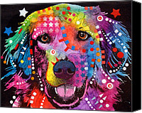 Dean Russo Mixed Media Canvas Prints - Golden Retriever Canvas Print by Dean Russo