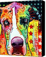 Portrait Mixed Media Canvas Prints - Great Dane Canvas Print by Dean Russo