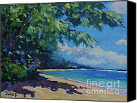 Cuba Painting Canvas Prints - 7-Mile Beach Canvas Print by John Clark