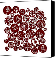 Flower Design Canvas Prints - Red Abstract Canvas Print by Frank Tschakert