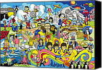 George Harrison Canvas Prints - 70 illustrated Beatles song titles Canvas Print by Ron Magnes