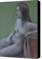 Elegance Pastels Canvas Prints - Nude Study Canvas Print by Masami Iida