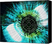 Biometric Canvas Prints - Biometric Eye Scan Canvas Print by Pasieka