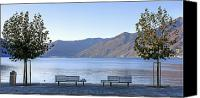 Benches Canvas Prints - Lake Maggiore Canvas Print by Joana Kruse