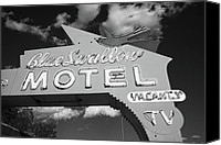 Swallow Canvas Prints - Route 66 - Blue Swallow Motel Canvas Print by Frank Romeo