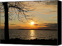 Thomas Pyrography Canvas Prints - Sunset Chesapeake Bay Canvas Print by Valia Bradshaw