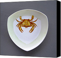 Plate Ceramics Canvas Prints - 866 2 Part of Crab Set 1 Canvas Print by Wilma Manhardt
