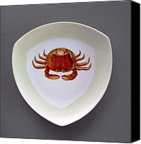 Plate Ceramics Canvas Prints - 866 3 part of Crab Set 1 Canvas Print by Wilma Manhardt