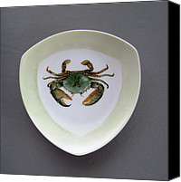Plate Ceramics Canvas Prints - 866 4 part of the Crab Set 1 Canvas Print by Wilma Manhardt