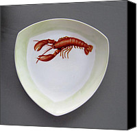 Plate Ceramics Canvas Prints - 866 5 part of the Crab Set  866 Canvas Print by Wilma Manhardt